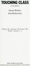 STUART BRISLEY, Touching Class, 1981, invitation card