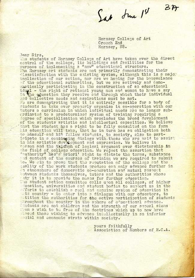 STUART BRISLEY, Hornsey College of Art Association – Letter, 1968