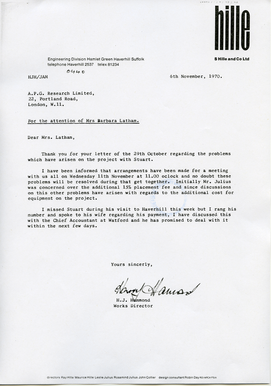 STUART BRISLEY, Letter between H.J. Hammond and Barbara Latham, 1970